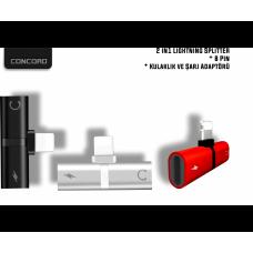 Concord 2 in 1 Lightning Müzik ve Şarj Adaptörü (C-866)