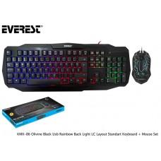 Everest KMX-86 Olivine Black Usb Rainbow Back Light LC Layout Standart Keyboard + Mouse Set