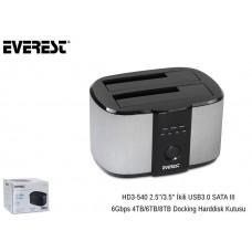 Everest HD3-540 2.5/3.5 İkili USB3.0 SATA III 6Gbps 4TB/6TB/8TB Docking Harddisk Kutusu