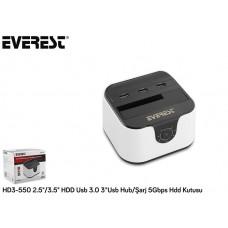 Everest HD3-550 2.5/3.5 HDD Usb 3.0 3*Usb Hub/Şarj 5Gbps Hdd Kutusu