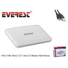 Everest HDC-240 Harici 2.5 7mm Usb 2.0 SSD Beyaz Hdd Kutusu