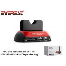 Everest HDC-385 Harici Usb 2.0 2.5- 3.5 IDE+SATA Hdd + Kart Okuyucu Docking