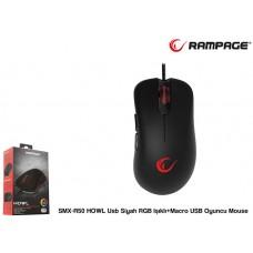 Rampage SMX-R50 HOWL Usb Siyah RGB Işıklı+Macro USB Oyuncu Mouse