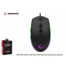 Rampage SMX-R63 GLORY Usb Siyah RGB Işıklı 6400dpi Gaming Oyuncu Mouse