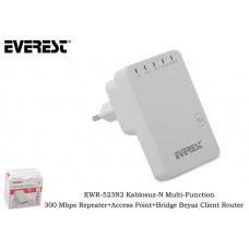 Everest EWR-523N2 Kablosuz-N Multi-Function 300 Mbps Repeater+Access Point+Bridge Beyaz Client Route