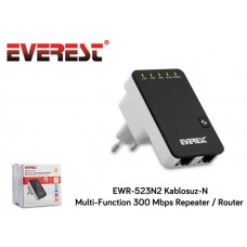 Everest EWR-523N2 Kablosuz-N Multi-Function 300 Mbps Repeater+Access Point+Bridge Siyah Client Router